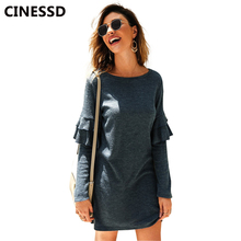 CINESSD Women Knit Sweaters O Neck Long Ruffle Sleeves White Cotton Pullover Casual Tops Sweater Solid Mini Autumn Winter Dress