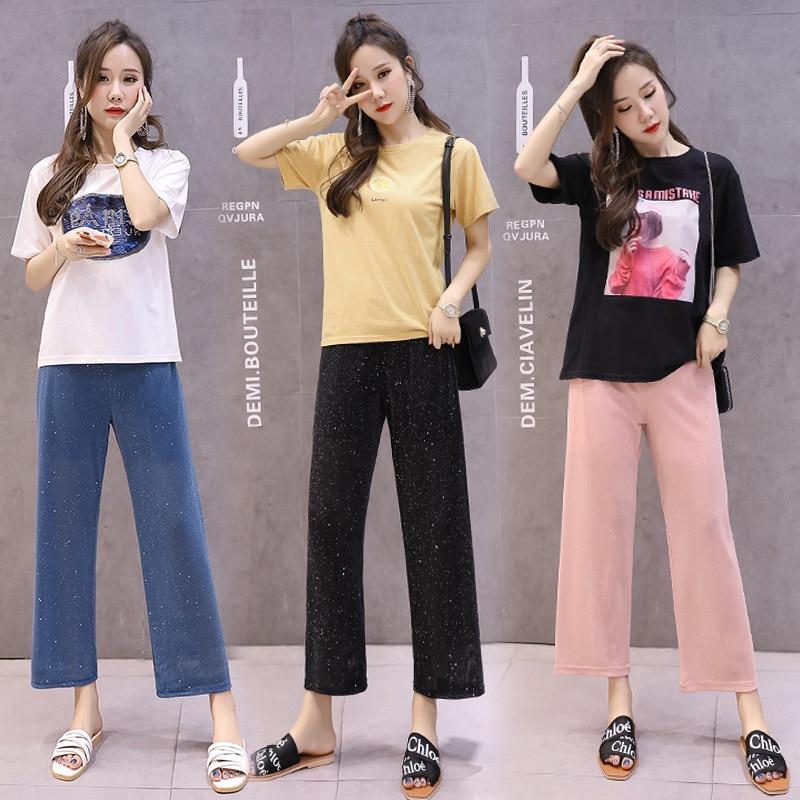 Pregnant Women Pants Pregnant Women Summer Wear Capri Viscose Loose Pants Korean-style Chiffon Loose Thin Summer Outer Wear