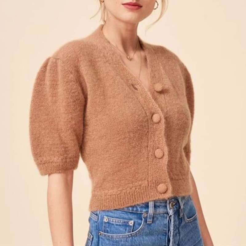 V-neck Women's Short Puff Sleeve Knit Cardigan Single Breasted Solid Color Short Sweater Knitted Coat