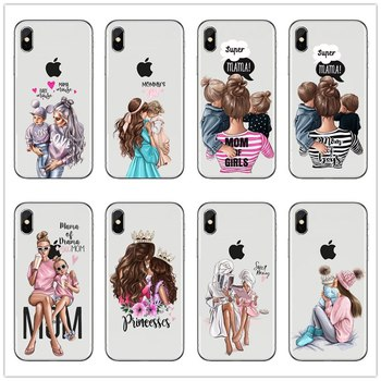 Black Brown Hair Dear Baby Mom Girl son Queen 01 Case For iPhone 12 mini 7 6s 8 Plus 11 pro max X XS XR Se 2020 mommy Soft cover