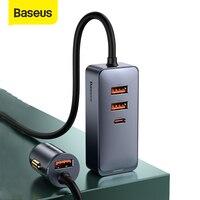 Baseus-adaptador de enchufe USB para coche, 120W, divisor de mechero de coche QC 3,0 PD 3,0, Cargador USB PD 20W, carga rápida para Iphone