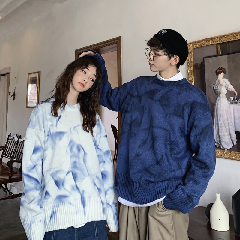 Sweater Men's Warm Fashion Tie Dye Casual O-Neck Knit Pullover Men Streetwear Loose Couple Sweter Clothes Knitting Sweaters Male