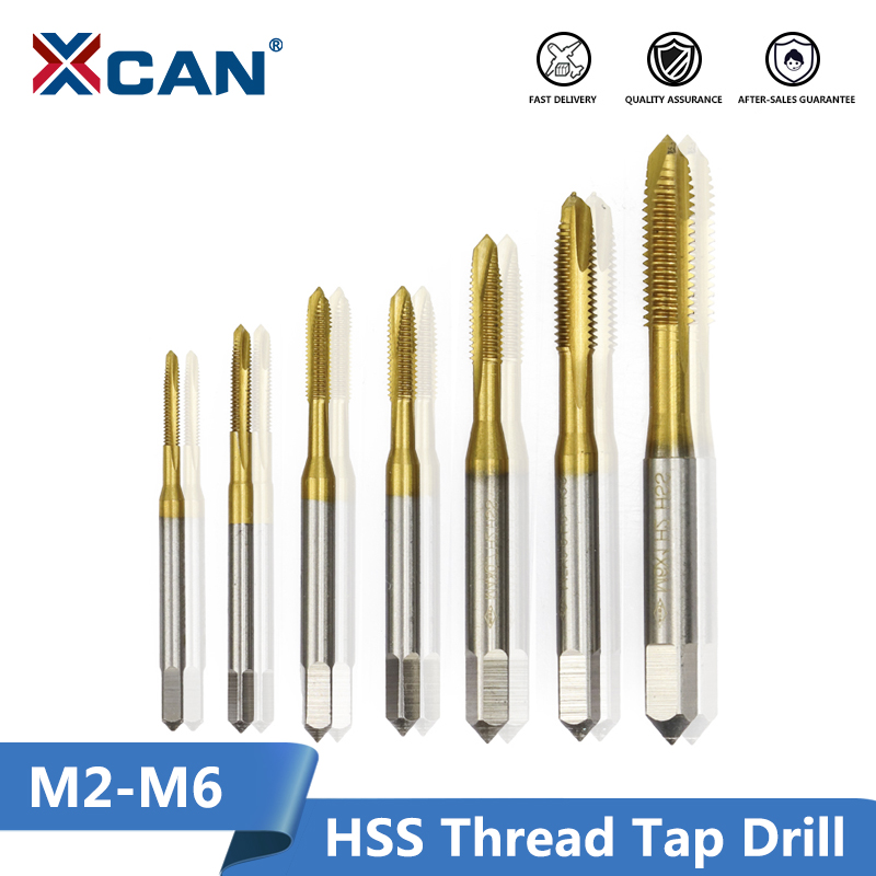XCAN 1pc M2/M2.5/M3/M3.5/M4/M5/M6 Titanium Coated Hand Tap HSS Metric Straight Flute Thread Screw Tap