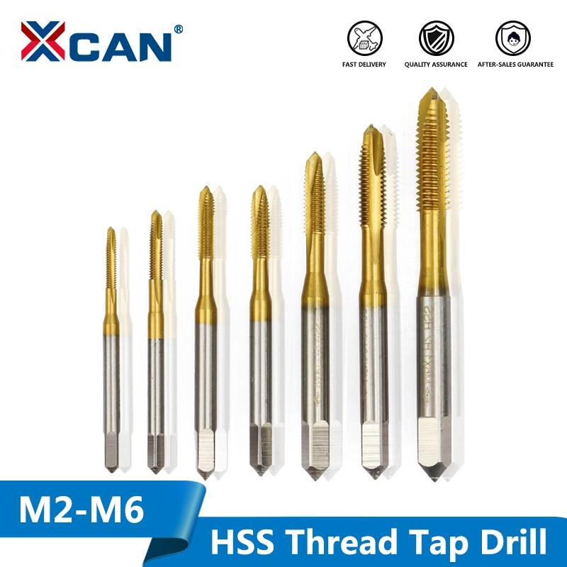 XCAN 1pc M2/M2.5/M3/M3.5/M4/M5/M6 Titanium Coated Hand Tap HSS Metric Straight Flute Thread Screw Tap