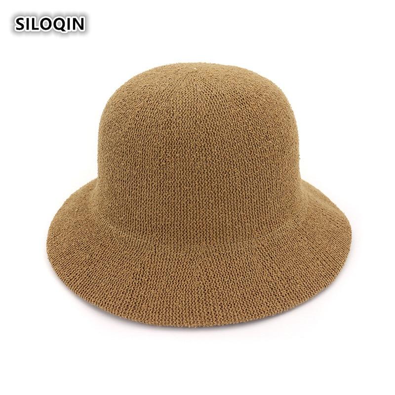 SILOQIN Panama Ladies Cap Summer Trend New Bucket Hat Foldable Breathable Sunscreen Beach hats Elegant Woman Brand Casquette