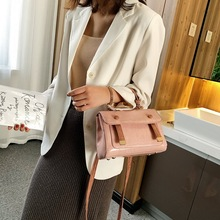 luxury New fashion vintage cowhide crocodile pattern handbag for women simple casual pure color slant shoulder small square