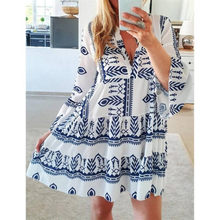 Robe d'été à manches trois-quarts pour femmes, imprimé à col en v, pour un usage quotidien, Style Boho ethnique à fleurs, grande taille
