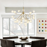 Nordic Firefly Chandelier Modern Simple Glass Ball Bedroom LED Lamps Creative Cool Restaurant Living Room Chandelier