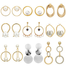 Elegant Metal Ball Silver Gold Color Round Circle Drop Earrings For Women Simple Imitation Pearl Crystal Cubic Earrings Jewelry metal artificial pearl circle drop earrings