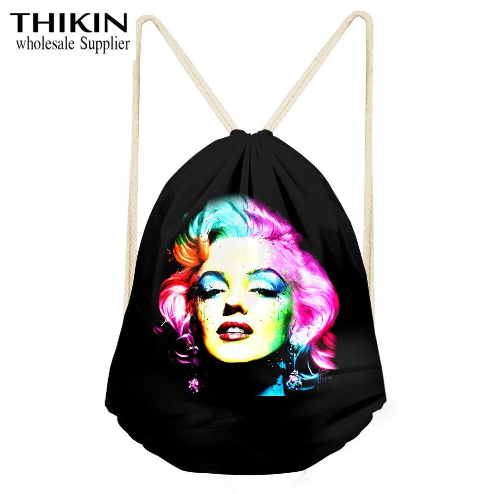 THIKIN Sexy Classic Marilyn Monroe Print Drawstring Bag Women Travel Storage Package Fashion Girls Daily School Shoulder Bags