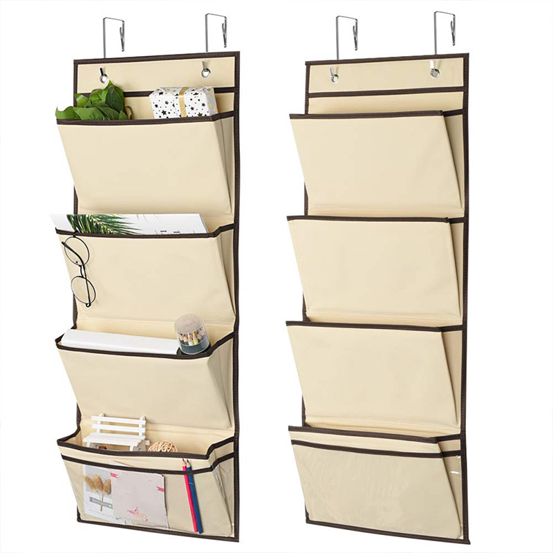 Hanging Wall Organizer,Over The Door File Organizer Hanging Wall File Folder Storage Organizer, (Beige - 2 Pack)