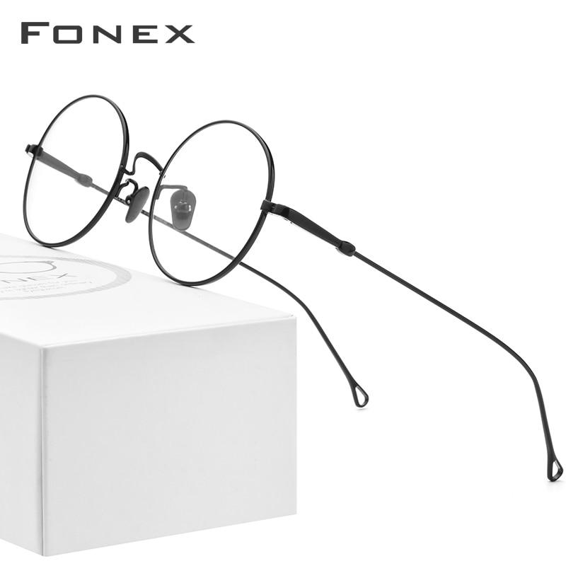 FONEX Pure Titanium Eyelasses Frame Men Prescription Vintage Myopia Optical Glasses Women High Quality Korean Eyewear 870