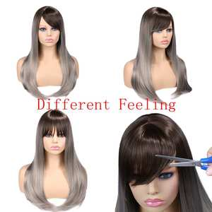 Image 5 - お気に入り合成かつらストレート亜麻シルバー 20 インチ側部強打グラデーションカラー毛先自然なサイズ調整黒人女性