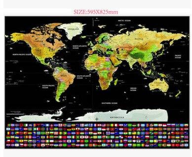 Черный роскошный поцарапанный флаг карта Скретч Карта мира цвет Путешествия Товары карта мира