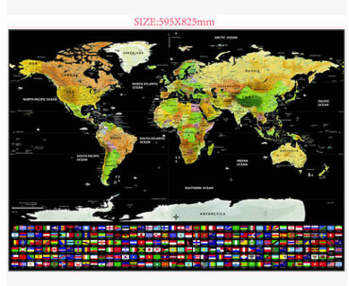 Black Luxury Scratched Flag Map Scratch Map World Color Travel Goods World Map