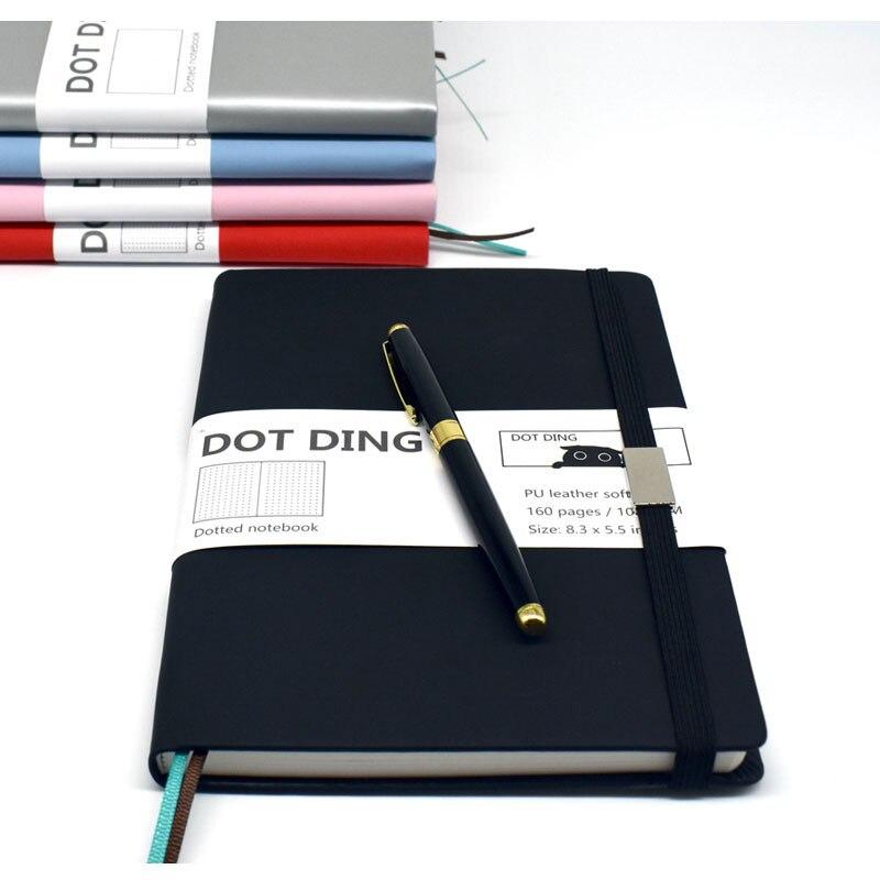 Novo bullet journal a5 tamanho pontilhado papel, couro softcover, 80 folhas, marfim branco papel 100 gsm, caderno planejador feito à mão