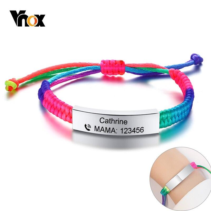 Vnox Adjustable Customize Name Emergency Contact Bracelets For Kids Baby Handmade Braided Rainbow Colorful Rope Girls Boy Bangle