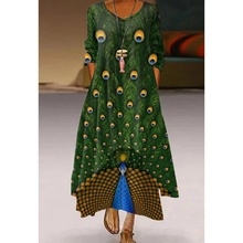 New green feather print loose large gown printed women