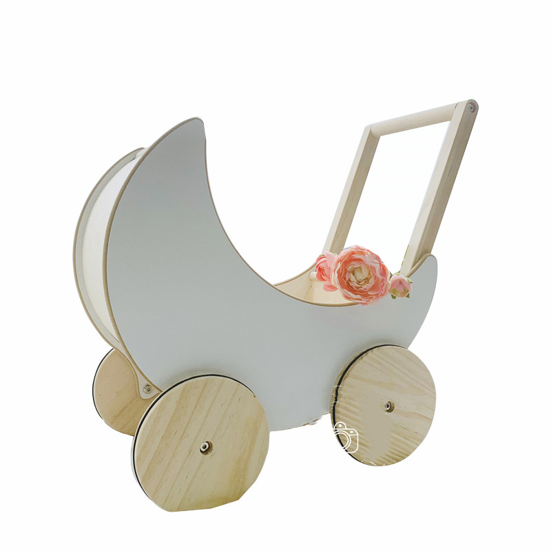 Children's Photography Props Dolls Baby Carriage Wooden Toy Car Moon Stroller Studio Newborn Photography Props