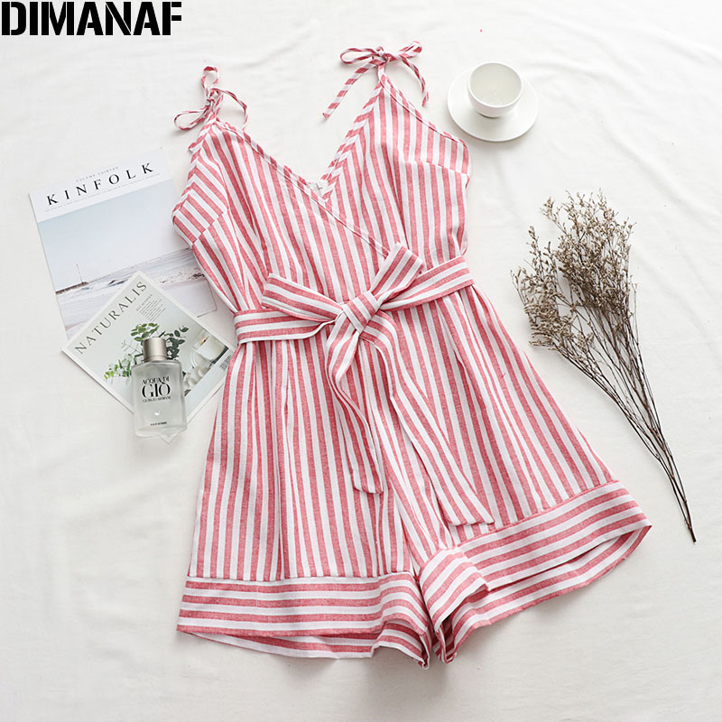 DIMANAF Plus Size Women Playsuits Pants Striped Pink Summer Holiday Beach Style Loose Casual Trousers Sexy Lady Spaghetti Strap