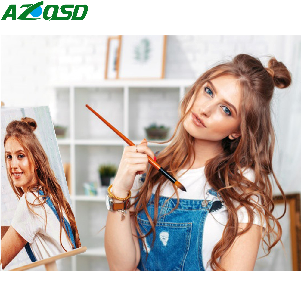 AZQSD Canvas Pictures Portrait-Kits Numbers Drawing Photos Family Children Wedding Oil