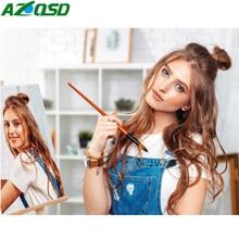 AZQSD-pintura por números, foto personalizada, dibujo al óleo, lienzo, fotos, juegos de retratos, boda, familia, niños, fotos, regalo artesanal