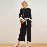 Suits Women Linen Silk Blended Knitted Two Pieces Set Simple Design Splice Top+Wide leg Pants Casual Style New Fashion
