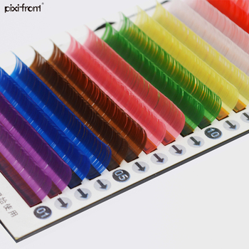 Yellow/Green/red/purple/blue/brown 8colors rain colrful eyelashes extenin, individual color lash image