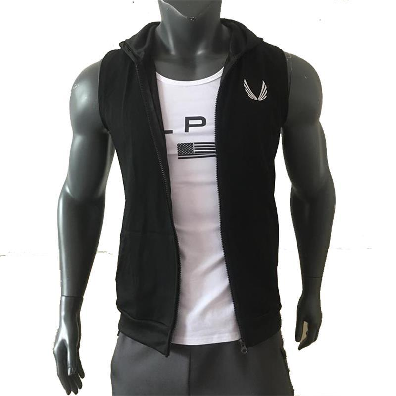 2020 New Fitness Sports Sleeveless Hooded Vest Men's Training Elastic Tight Elastic Vest Running Casual Clothes  Mens Vest