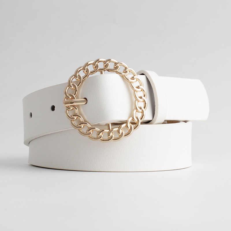 2020 חדש מעצב נשים של הולו מתוך O טבעת עגול אבזם חגורת נקבה מתכוונן שחור לבן חום עור מותניים חגורות עבור נשים