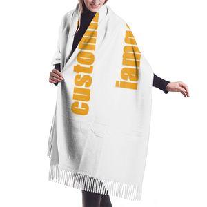 Image 2 - NOISYDESIGNS Customized Women Cashmere Scarves with Tassel Autumn New Soft Warm Lady Girls Wraps Thin Long Scarf Female Shawl