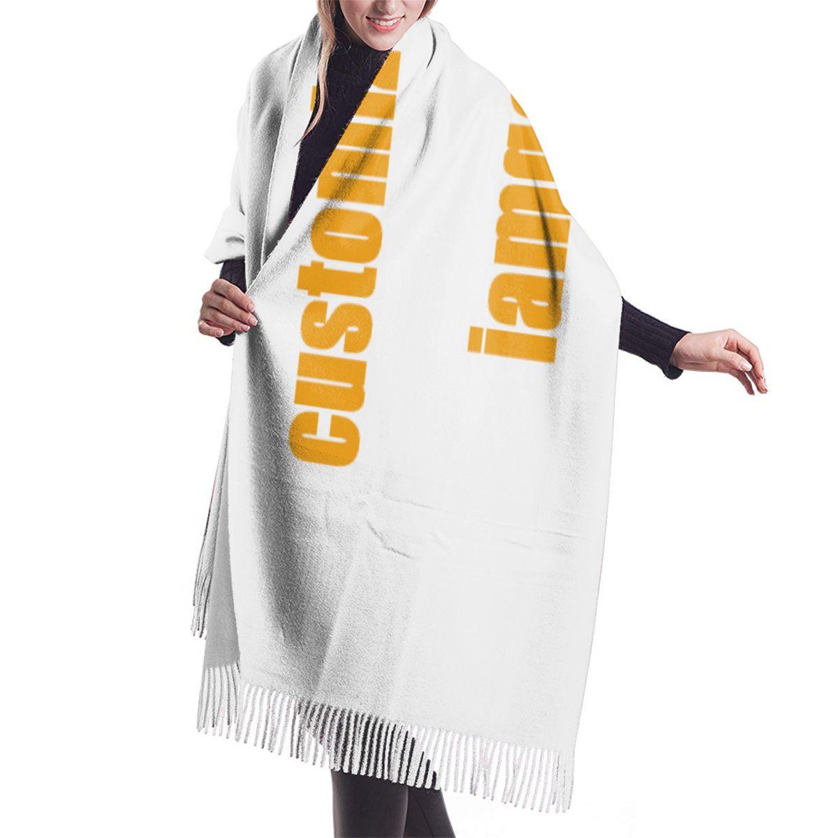 Image 2 - NOISYDESIGNS bufandas de cachemir personalizadas para mujer con borla otoño nuevo suave cálido señora niñas envuelve bufanda larga fina chal femeninoBufandas de mujer   -