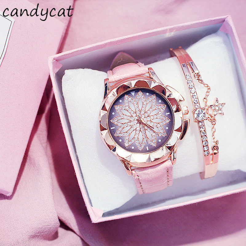 CandyCat Sometimes Running Watch Girls Starry Net Red Celebrity Inspired Korean Style Student Waterproof Fashion Ladies' Watch