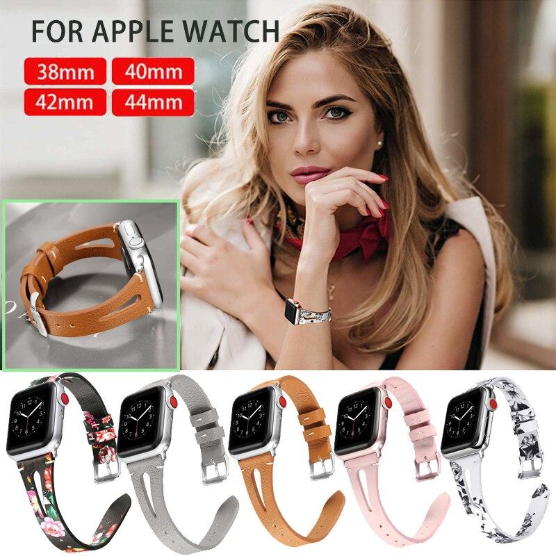 Blume Floral Bedruckte Leder Band Für Apple Uhr Serie 4 3 2 1 Armband Strap für iWatch 4 38mm 42mm 40mm 44mm Handgelenk Gürtel