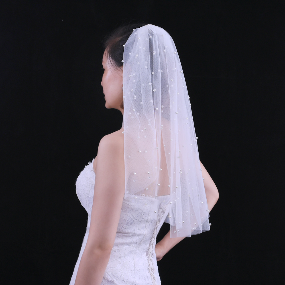TOPQUEEN V05 Wedding Accessories Fingertip Veil with Hair Comb White Ivory One Layer Bridal Veil with Pearls for Women