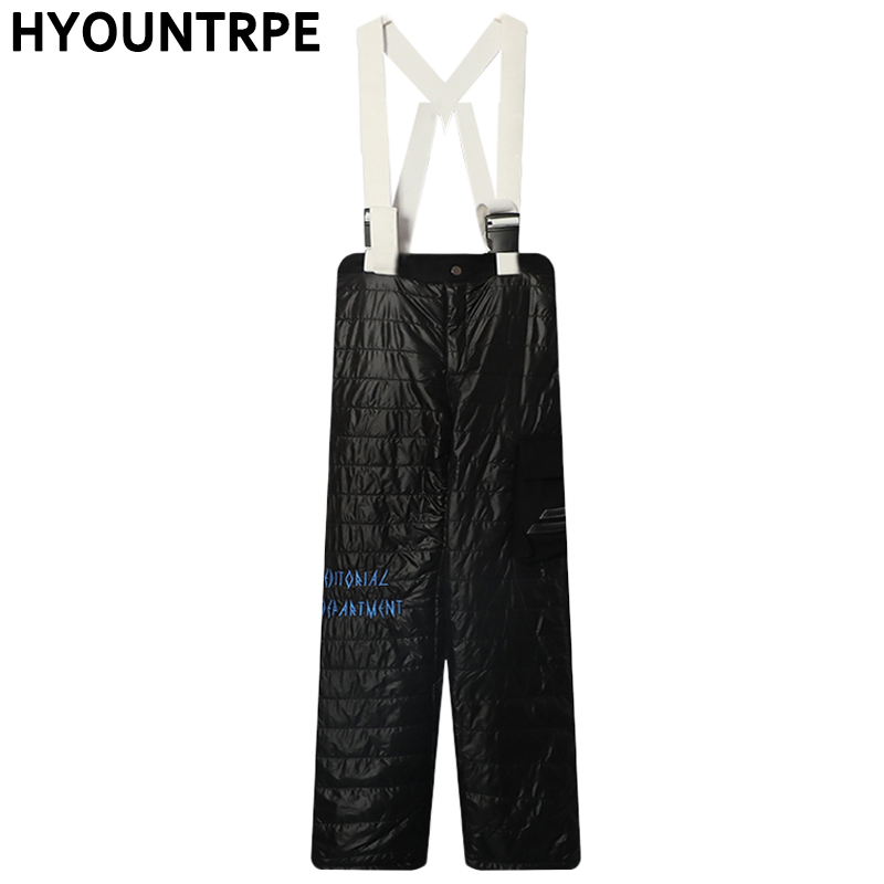 Fashion Suspender Trousers Hip Hop Straight Pant Casual Side Pocket Warm Cotton Padded Loose Fit Trousers High Streetwear Pants