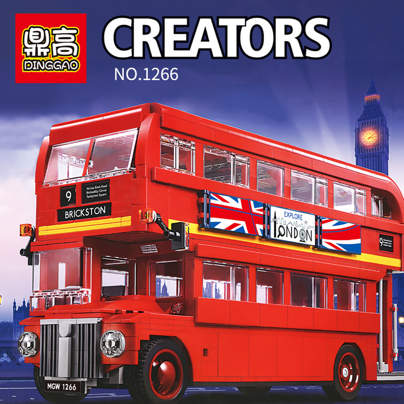 1266 City Creator London Bus Building Block Bricks Compatible 10258 21045 Educational Toys Children Birthday Gifts(China)