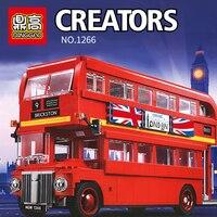 1266 City Creator London Bus Building Block Bricks Compatible legoingLYs 10258 21045 Educational Toys Children Birthday Gifts