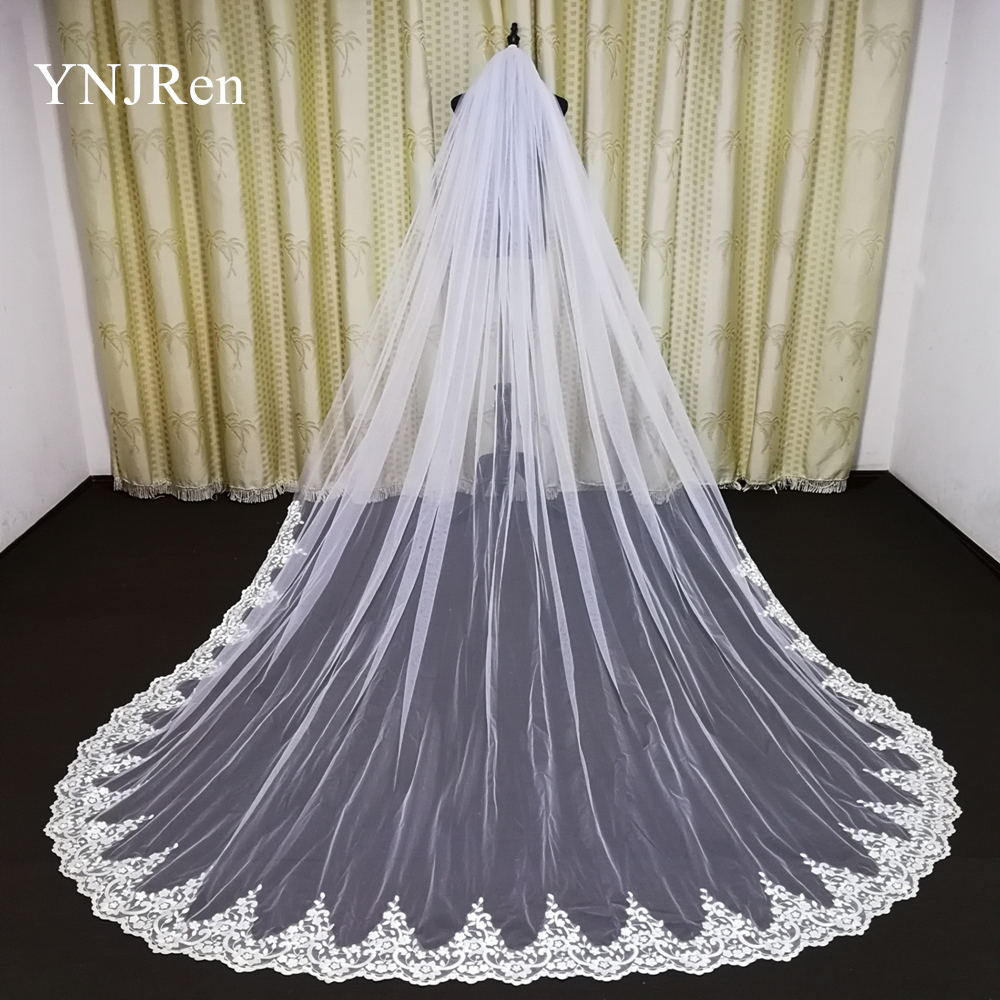 Real Photo One Layer Cathedral Wedding Veil  White/Ivory Hand Stitched Metal Comb Lace Bridal Veils