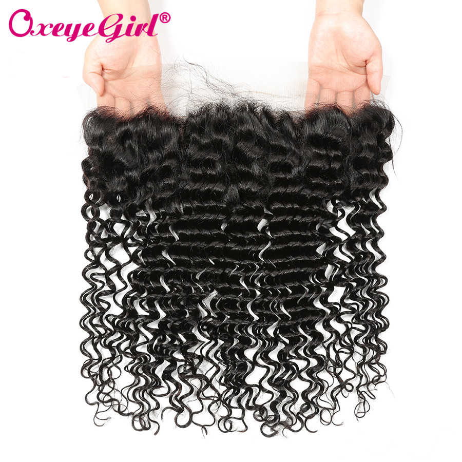 13x4 Lace Frontal Closure With Baby Hair Deep Wave Brazilian Hair Bundles Full Lace Front Oxeye Girl Remy Human Hair Front Lace
