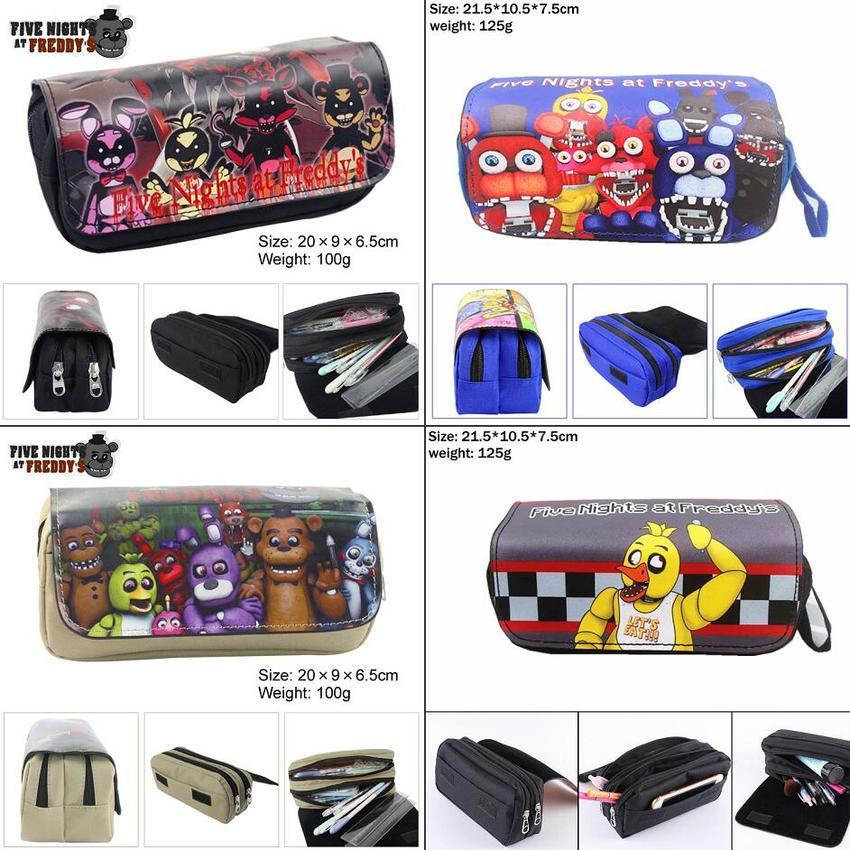 Five Nights At Freddy's Freddy Bonnie Canvas Pencil Case Penbag Women MakeupBag Cosmetic Bag Zipper Cartoon Stationery Bags