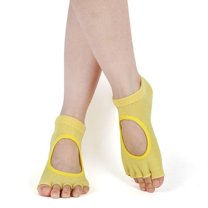 1 Pair Women Sports Yoga Socks Backless Five Toe Anti-Slip Ankle Grip Socks Dots Pilates Fitness Gym Socks Ladies Sports Socks