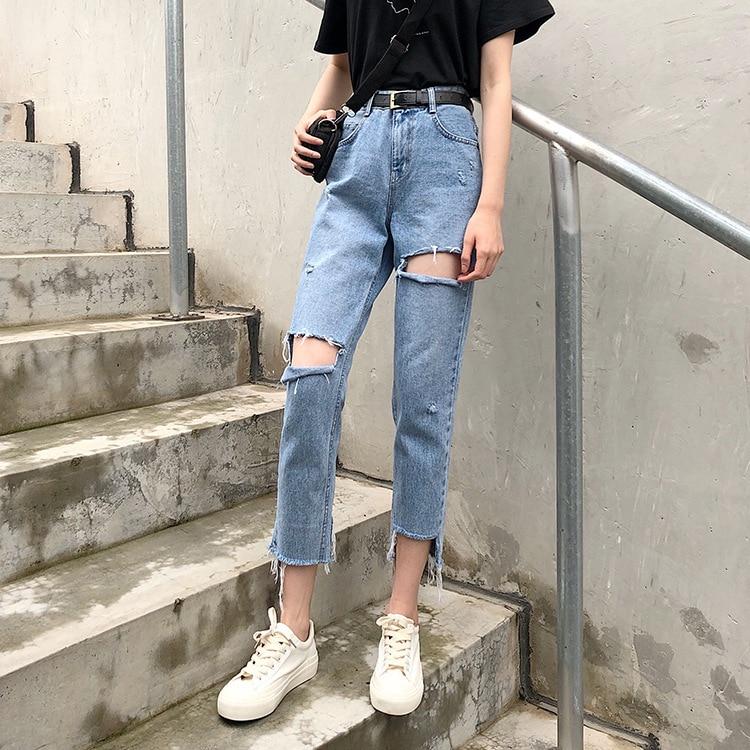 C5726 Cool With Holes Design Jeans Korean-style Versatile Washing Capri Pants