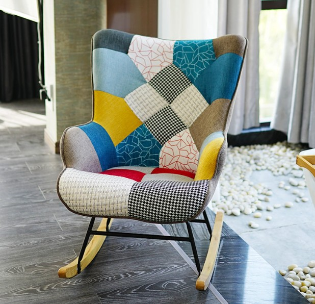 H1 Nordic Art Stitching Recreational Rocking Chair Sofa Adult Nap Chair Household Balcony Lazy Lift Chair Easy Chair Cheap