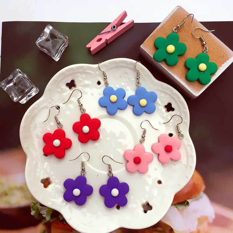 Cute Permen Warna Sederhana Bunga Drop Anting-Anting Segar Korea Bunga Menjuntai Anting-Anting Wanita Perhiasan Lucu