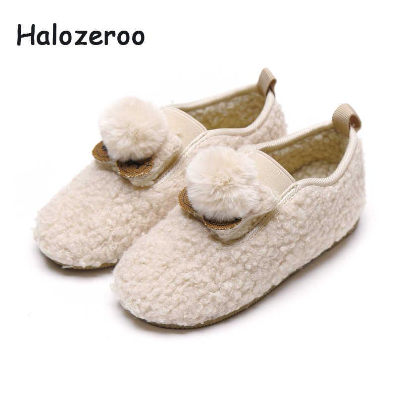 Crianças inverno Sapatos De Pele Do Bebê Meninas Princesa Sapatos Crianças Marca Bege Sapatos Da Moda Sapatas Da Escola Doce Mocassim Loafer Quente Novo