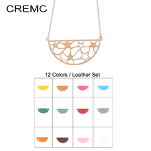 Cremo Necklaces & Pendants Long Steel Chain Necklace Semicircl Star Pendant Interchangeable Leather Charm