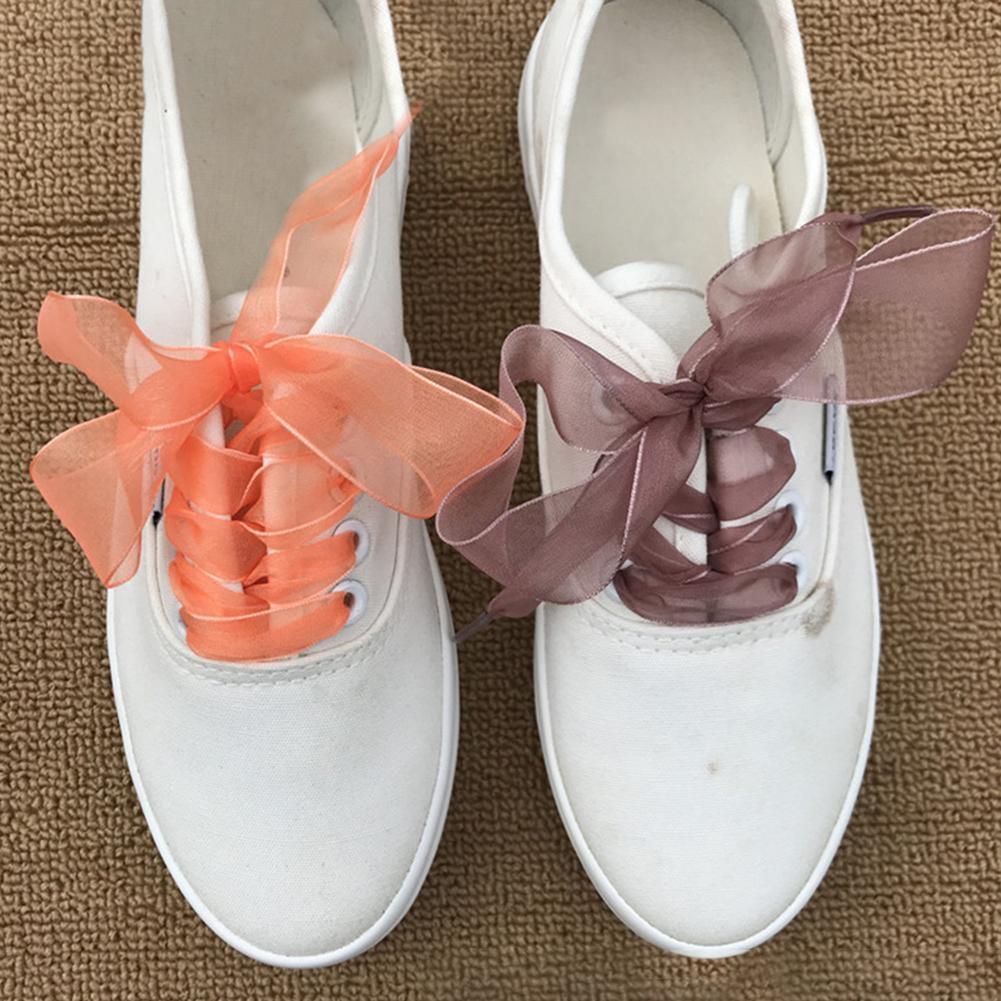 Dentelle 1Pair 2.5cm Organza Shoe Lace Flat Silk Satin Ribbon Sneaker Casual Sport Shoe Bow Strap Shoelaces Shoes Accessories