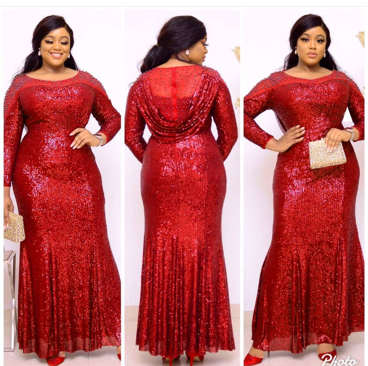 African Dresses For Women African Dress Women's Lace Sequins Round Neck Sleeves Daily Dress Evening Dress Party Dress