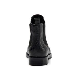 Image 3 - דונה בנשים שחור אמיתי עור מגפי מגולף קרסול מגפי נמוך עקבים גבירותיי פלטפורמת צ לסי מגפי סתיו 2020 גבירותיי נעליים
